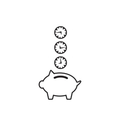 Time is money piggy bank icon vector