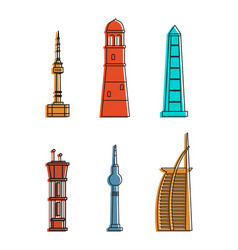 tower icon set color outline style vector image