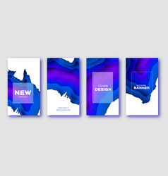 Trendy blue paper cut layered shapes banner vector