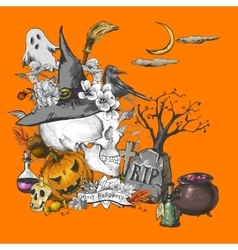 Vintage Hand-drawn Halloween Invitation Card with vector image