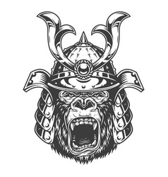 vintage monochrome angry gorilla head vector image