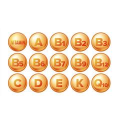 vitamin icons set organic vitamin gold vector image