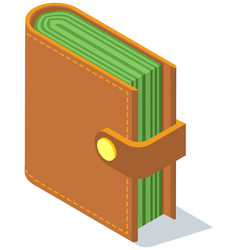 wallet with money fat purse vector image