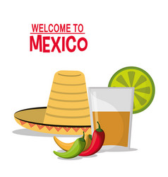 welcome to mexico drink chili pepper hat vector image