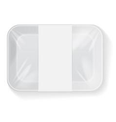 White rectangle blank styrofoam plastic food tray vector