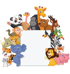 Wild animal cartoon with blank sign vector image