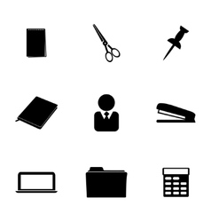 black office icons set vector image