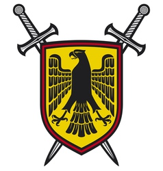 eagle and crossed swords coat of arms vector image vector image