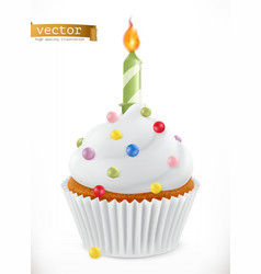 festive cupcake with candle 3d realistic icon vector image vector image