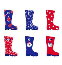 retro christmas wellington boots vector image