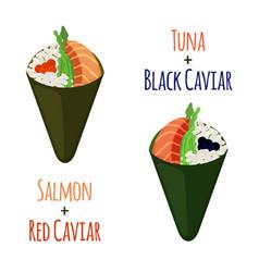 temaki setsushi tuna salmon caviar rice nori vector image
