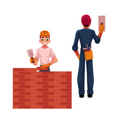 two construction workers - builder and electrician vector image
