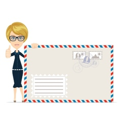 Happy female Delivering Mail Over White Background vector image vector image