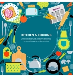 Kitchen home cooking concept poster vector image vector image