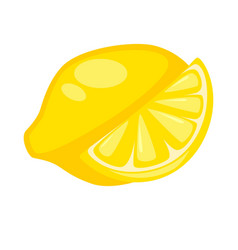 lemon citron whole and half isolated on white vector image vector image