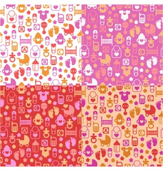 set of color seamless patterns of baby icons vector image