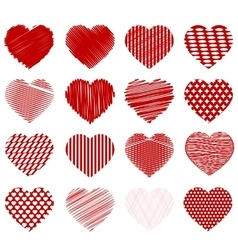 Set of Red Hearts vector image