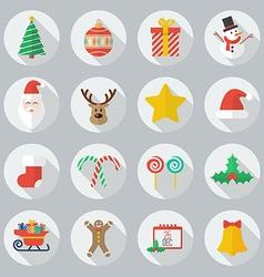 Christmas Flat Icon Set vector image
