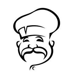 Happy chef with a droopy moustache vector image vector image