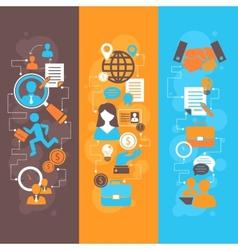Job interview flat banner set vector image vector image