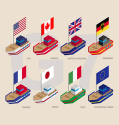 set of isometric ships with flags of g7 and eu vector image