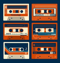 vintage cassettes set vector image