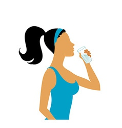 Young woman drinking water vector image vector image
