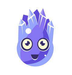 blue crystal ice element egg-shaped cute vector image vector image