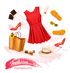 Collage of summer clothing and accessories vector image