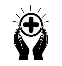 Contour hands with cross medicine symbol to help vector