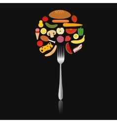 foods in circle on the fork vector image vector image