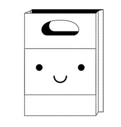 kawaii paper bag in black dotted silhouette vector image