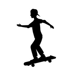 pictogram young boy skateboard sport vector image