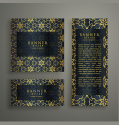 set of three premium banners card design with vector image