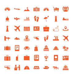 49 tourism icons vector image