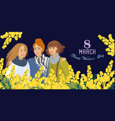 8 march womens with flowers mimosa on a dark vector image