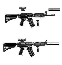 American automatic assault rifle design element vector