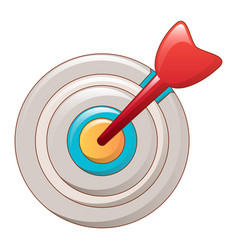 arrow in center target icon cartoon style vector image