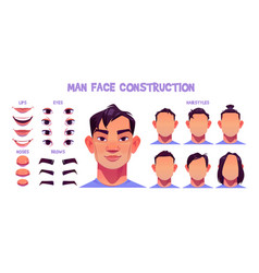 asian man face construction avatar creation set vector image