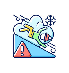Avalanche warning sign rgb color icon vector