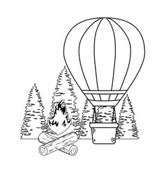 Balloon air hot flying with pines and campfire vector