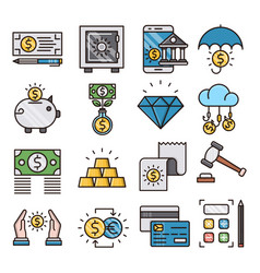 banking filled outline icons vector image