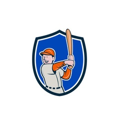Baseball Player Batting Stance Crest Cartoon vector image
