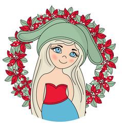 blonde christmas portrait vector image