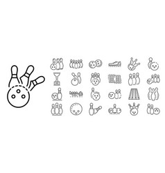 Bowling icon set outline style vector