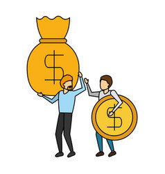 business men holding money bag and coin vector image