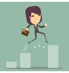 Businesswoman Jump Through The Gap In Growth Chart vector