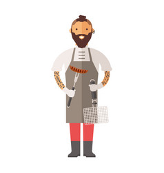butcher young chef decorating delicious character vector image