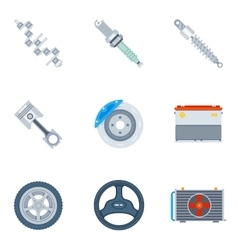 Car spare parts flat icons vector