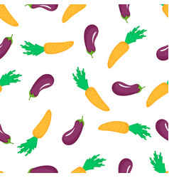 carrot and eggplant seamless pattern organic vector image